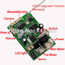 v912 16 new upgrade version receiver board mainboard circuit board v912 16 new upgrade version receiver board mainboard circuit board camera function spare parts for v912 4ch rc helicopter