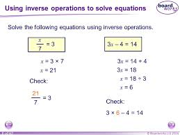 using inverse operations to solve equations