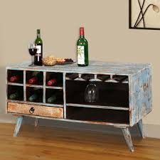 Travis Trail Open Storage Wine Rack Console Table With Glass Stem