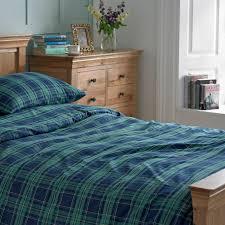 blue and green tartan brushed cotton duvet cover set