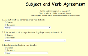 Eighth Grade Language Skill Builders Subject Verb Agreement