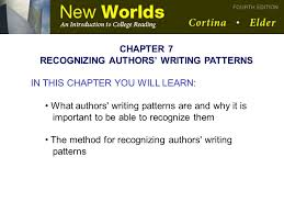 Writing Patterns Custom RECOGNIZING AUTHORS' WRITING PATTERNS Ppt Download