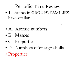 Periodic Table Review 1. Atoms in GROUPS/FAMILIES have similar . A ...
