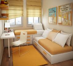 Make A Small Bedroom Look Bigger Bedroom White Modern Wooden Storage Beds Plastic Chair Orange