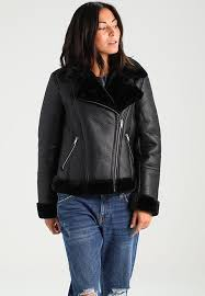 miss selfridge petite shearling black leather jackets for women