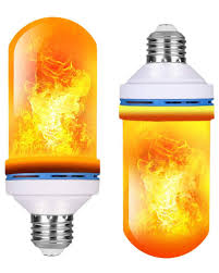 Fimitech Flame Light Bulbs Ioo Led Flame Effect Fire Light Bulbs E26 With Upside Down Effect Simulated Decorative Light 4 Modes Atmosphere Lighting Vintage Flaming Holiday