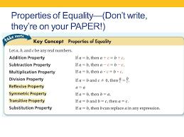 Geometry Warm Up Algebra Proofs Properties Of Equality