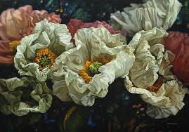 pink and white flowers painting by shen jianwei