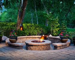 round fire pit with bench seating