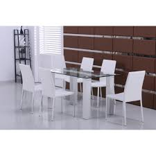 glass dining table with white leather chairs beautiful modern new glass dining table with 6 white