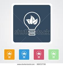 vector square blue icon lighting bulb. Square Flat Buttons Icon Of Light Bulb With Plant Eco Concept. Eps-10. Vector Blue Lighting N