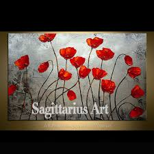 hand painted landscape silver metallic embracing poppies abstract palette knife oil painting canvas wall living room art artwork in painting calligraphy