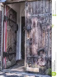 old meval double wooden door