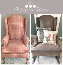 diy rustic reupholstered wing back rocker fawn over baby
