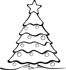 Christmas Tree Black And White Clipart #1