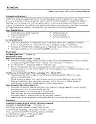 Chemical Operator Resume Process Operator Resume For Chemical Eezeecommerce Com