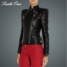 cool punk motorcycle women black rivet brand faux soft leather jackets pu blazer zippers coat outerwear jaquetas de couro