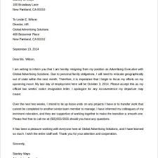 2 Weeks Resignation Letter Example Images - Letter Format Examples