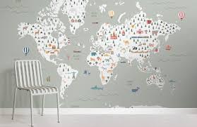 sage children s map wallpaper mural