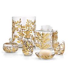 these stunning mouth n gl bath accessories feature a hand cut leaf and vine pattern accented in gold made in italy