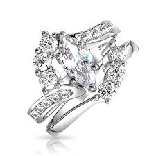 Bridal Sterling Silver 1ct Marquise Cz Engagement Wedding Ring Set