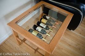 oak coffee table with wine rack by