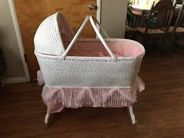 Vintage White and Pink Wicker Bassinet for Baby Shower Decorations ...