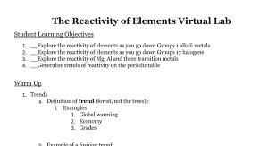 The Reactivity of Elements Virtual Lab - Google Docs
