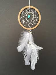 Dream Catcher For Car Mirror Best Dream Catcher For Car Mirror Brown White And Turquoise Etsy