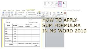 how to apply sum formula in ms word 2010