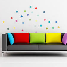 multicoloured polka dot wall sticker set