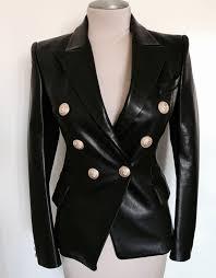 balmain double ted leather jacket women lambskin leather blazer