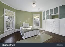 Master Bedroom Flooring Master Bedroom Green Walls Dark Wood Stock Photo 59744351