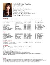 Interesting Opera Singer Resume Template For Actor Resume Sample