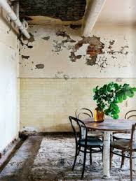 vine dining room with rough plaster walls