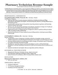 Resume Examples For Pharmacy Technician