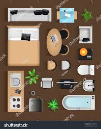 designer office desk isolated objects top view. Set Top View For Interior Icon Design. Isolated Vector Illustration. Modern Black Furniture Designer Office Desk Objects