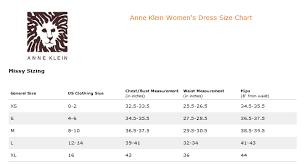 Anne Klein Plus Size Chart Ann Klein Womens Dress Size Chart
