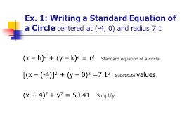 ex 1 writing a standard equation of a circle centered at 4
