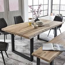 Esstisch Tristan Massivholz Tisch Eiche Natur Mit Baumkante Und U