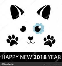 Nový Rok Psa Roztomilý Pejsek S Sněhové Vločky A černé Tlapky