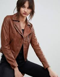 barney s originals leather biker jacket with diagonal zip detail brown leather moto jackets asos