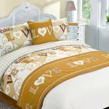 with love bed in a bag duvet cover set gold