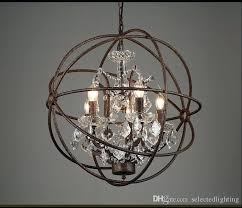 chandelier restoration hardware industrial lighting vintage crystal pendant lamp iron orb rustic iro