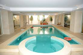 indoor pool and hot tub. Large Indoor Pool And Hot Tub Complex With Trees Showcased On One End T