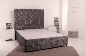 Small Double Bedroom Giltedge Beds 4ft Small Double Divan Base Crushed Velvet Fabric