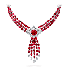 graff ruby and diamond necklace featuring 17 09 ct pigeon s blood mozambique ruby