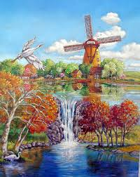 dutch windmill painting old dutch windmill by john lautermilch
