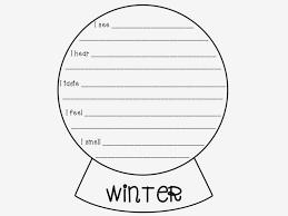 bie senses poem snow globe template literacy spark  bie 5 senses poem snow globe template
