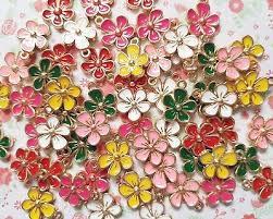 <b>5pcs</b> x Mix <b>Cute Flower</b> Enamel Gold Alloy CHARM Pendants DIY ...